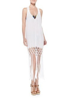 Milly Featherweight Fringe-Hem Racerback Coverup