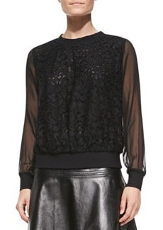 Milly Floral Lace Sweatshirt with Sheer Sleeves