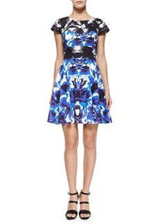 Milly Floral Mirage Cap-Sleeve Flare Dress