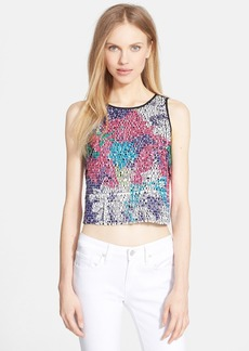Milly Floral Paillette Silk Top