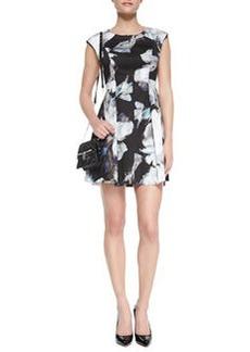 Milly Floral-Print Cap-Sleeve Dress