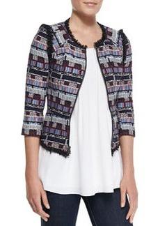 Milly Fringe-Trim Tweed Zip Jacket