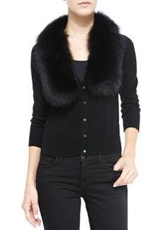 Milly Fur-Collar Knit Cardigan