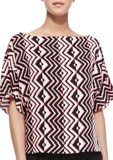 Milly Geometric-Print Dolman-Sleeve Top