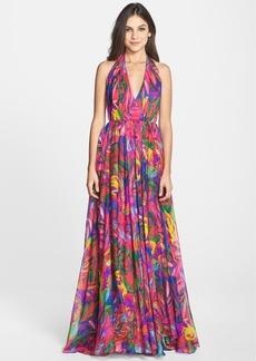 Milly 'Georgina' Print Cotton Blend & Silk Halter Gown