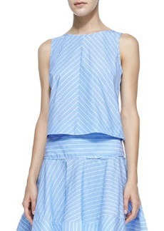 Milly Gorton Striped Sleeveless Poplin Blouse