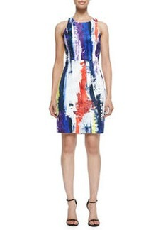 Milly Graffiti-Print Racerback Sheath Dress