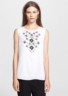Milly Hand Beaded Stretch Silk Top