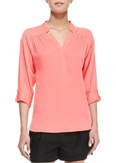 Milly Katalina Pleated Stretch-Silk Blouse
