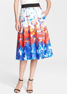 Milly 'Katie' Watercolor Print Pleated Midi Skirt