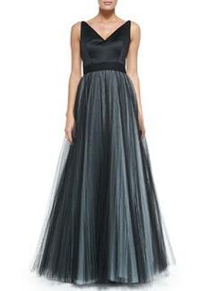Milly Lana Sleeveless Tulle-Skirt Ball Gown