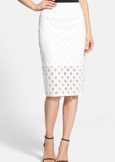 Milly Lattice Embroidered Mesh Midi Skirt