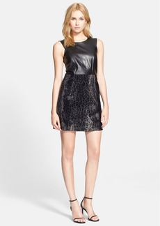 Milly Leather Panel & Faux Calf Hair Dress