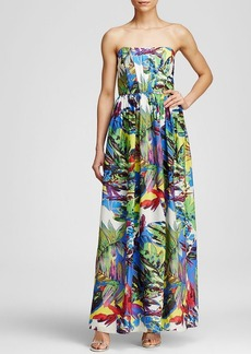 MILLY Maxi Dress - Floral Print Strapless