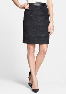 Milly Metallic Tweed & Leather Pencil Skirt