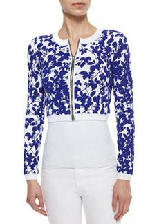 Milly Midnight Cropped Floral-Print Jacket