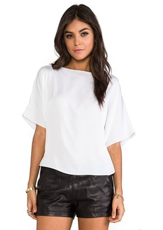 MILLY Milly Matte Stretch Silk Dolman Sleeve Top in White
