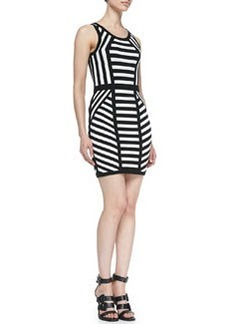 Milly Mitered Stripe Sleeveless Sheath Dress