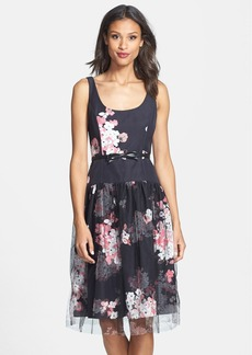 Milly 'Natalie' Faille & Mesh Print Dress