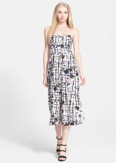 Milly Print Strapless Culotte Jumpsuit