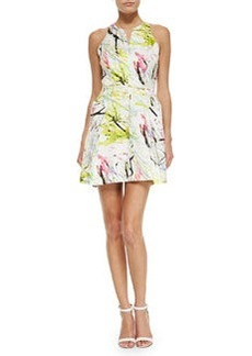 Milly Racerback A-Line Scribble Dress, White/Yellow/Multicolor