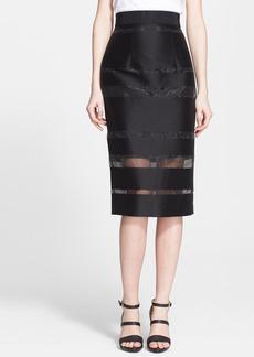 Milly Sheer Stripe Fil Coupe Midi Skirt