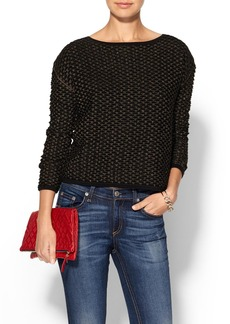 Milly Shimmer Pointelle Hole Sweater