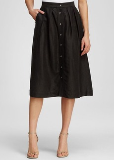 MILLY Skirt - Linen Button Down Midi