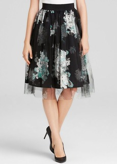 MILLY Skirt - Monica Floral Print with Tulle Overlay
