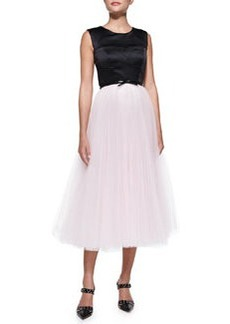 Milly Sleeveless Bustier Cocktail Dress W/ Tulle Skirt