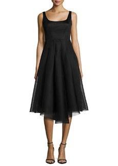 Milly Sleeveless Organza Cocktail Dress, Black
