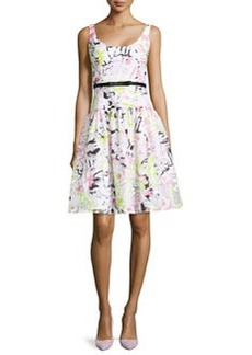 Milly Sleeveless Scoop-Neck Printed Dress