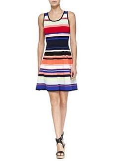 Milly Sleeveless Striped Flared Dress