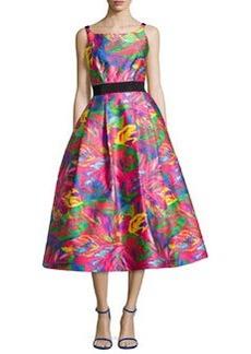 Milly Sleeveless Tropical-Printed Full-Skirt Dress