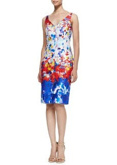 Milly Sleeveless Watercolor-Print Sheath Dress