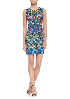Milly Stained-Glass-Print Slim Sheath Dress