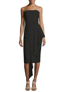 Milly Strapless Cascading Ruffle Dress, Black
