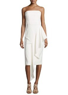 Milly Strapless Cascading Ruffle Dress, White
