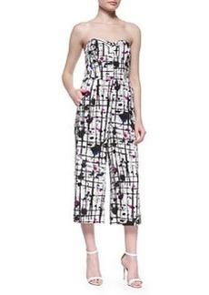 Milly Strapless Splatter-Print Jumpsuit