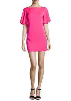 Milly Stretch Silk Crepe Flutter-Sleeve Dress