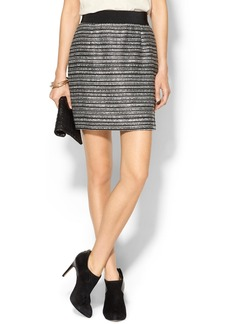 Milly Striped Back Zip Bell Skirt