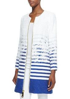 Milly Striped Degrade Tweed Zip Coat