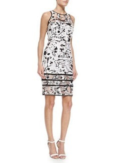 Milly Surrealist Fil Coupe Sheath Dress, White/Black