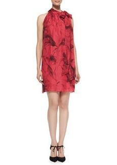 Milly Tie-Neck Floral-Print Silk Dress