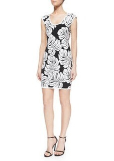 Milly Tropical Knit Cap-Sleeve Body-Conscious Dress, Black/White