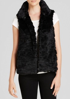 MILLY Vest - Kira Sequin Embroidered Faux Fur