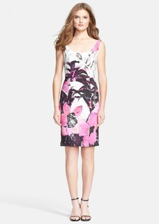 Milly 'Winter Orchid Sophia' Print Faille Sheath Dress