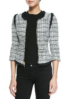 Milly Zip-Front Jacket with Fringed Trim