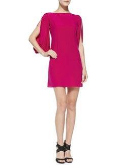 Monarch Silk Slit-Sleeve Dress, Raspberry   Monarch Silk Slit-Sleeve Dress, Raspberry