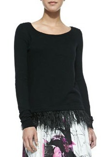 Ostrich Plume Pullover Sweater   Ostrich Plume Pullover Sweater